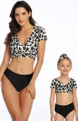 V-neck Leopard  Short Sleeve Top and Black Solid Bottom Swimsuit Set