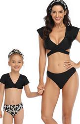 V-neck Short Sleeve Two Pieces  Matching Swimwear Black