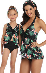 Green Printed Front Knot Bow and Solid Bottom Swimsuit