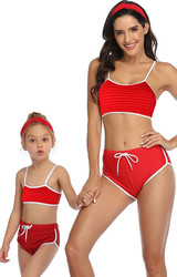 Red Solid White Trim Two  Piece Suspender swimsuit