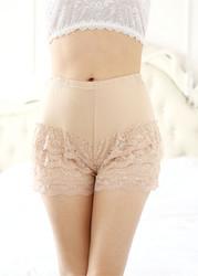 Plus Size Women Lace Modal Safety Bottom Underwear Apricot