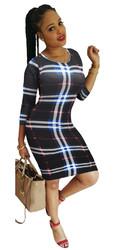 O-neck Long Sleeve Checkered Dress Sexy Women Bodycon Dress Black