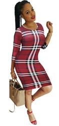 O-neck Long Sleeve Checkered Dress Sexy Women Bodycon Dress Red