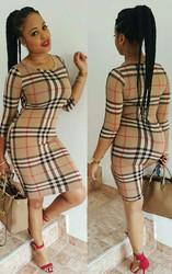 O-neck Long Sleeve Checkered Dress Sexy Women Bodycon Dress khaki