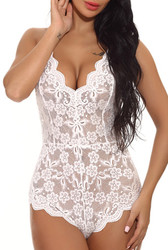 Women Lace Sexy Hollow-out One Piece Sexy Teddy 7 Colors Available