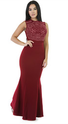 Women Sleeveless Rhinestone Mesh Maxi Bodycon Dress Red