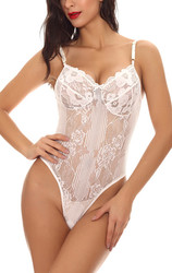Wholesale  Lace Sexy V neck  Conjoined Underwear   Teddy White
