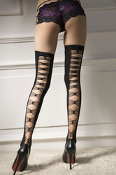 Sexy Embroider Bow Tie Stockings Black