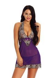 Sexy Purple Halterneck Patchwork Lace Lingerie