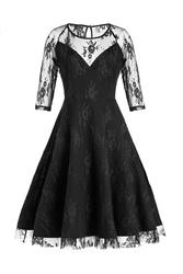 Summer new net yarn stitching round neck dress