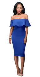 Women Ruffle Slash Neck Sexy Off Shoulder Bodycon Midi Dress Blue