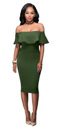 Women Ruffle Slash Neck Sexy Off Shoulder Bodycon Midi Dress Green
