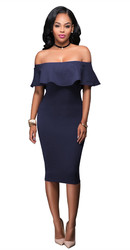 Women Ruffle Slash Neck Sexy Off Shoulder Bodycon Midi Dress Dark Purple