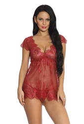 Floral Print Eyelash Lace Chemise Wine Red
