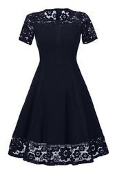 Summer new hot sell round necklacing lace stitching and slim dress hot style