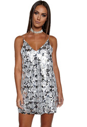 2017 Women's Sexy Deep V Neck Sequin Glitter Bodycon Party Dress Sliver
