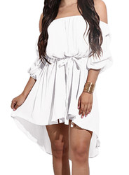 2017 Women's Off Shoulder Half Sleeve Ruffle Mini Dress White