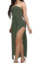 2017 Womens Off Shoulder Split Bodycon Dress Army Green
