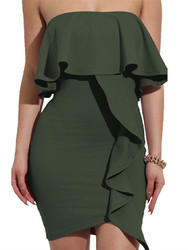 2017 Womens Sexy Off Shoulder Ruffles Wrapped Bodycon Party Mini Club Dress Army Green