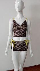 Two Pieces Lace Babydoll Brown