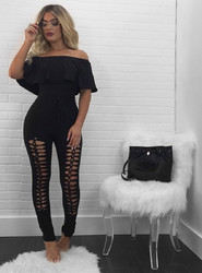 Fashion Women Summer Strapless Ruffles Off-Shoulder With Holes Jumpsuits Without Belt Black