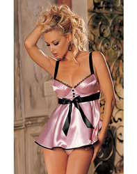Plus size Pink Bra Top Babydoll With Satin Front