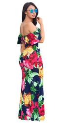 Short Sleeve Multi-Color Flounce Design Small Fresh Floral Print Maxi Dress