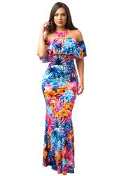 Floral Print Off-the-shoulder Maxi Dress