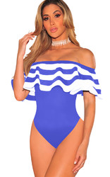 Women Blue One Piece Striped Monokinis Swimwear