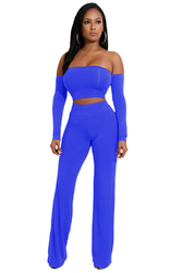 Light Blue Strapless Long Sleeve Strappy Two-piece Of Pantsuit