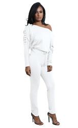 White Slanted One Shoulder Jumpsuit
