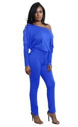 Bright Blue Slanted One Shoulder Jumpsuit