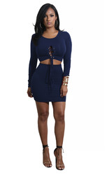 Royalblue Solid Strappy Long Sleeve Two-piece Dress