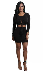Black Solid Strappy Long Sleeve Two-piece Dress