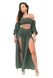 Army Green Sexy Strapless Long Sleeve Slit Jumpsuit Two-piece Suit