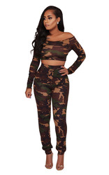 Fashion Casual Strapless Camouflage Two-piece Suit