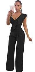 Ruffle and Halter Style Wide Legs  Party Jumpsuit