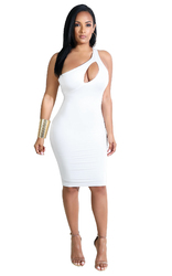 Inclined Shoulder design Bodycon Dress With Hollow Out In Front