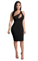 Inclined Shoulder Design And Hollow Out In Front Bodycon Dress Black