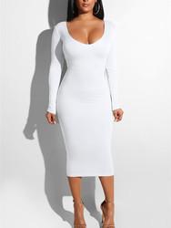 Women Sexy Bandage Dresses Hollow out Bodycon Dress White
