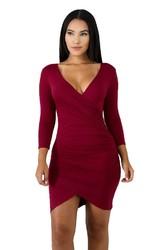 Wine Red V-Neck Long Sleeves Mini Bodycon Dress