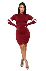Wine Red O-Neck Long Sleeve Sexy Bodycon Dress