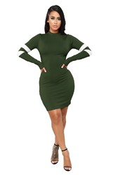 Army Green O-Neck Long Sleeve Sexy Bodycon Dress