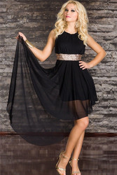 Sleeveless Slim Fit Chiffon Clubwear Dress Black with Lining