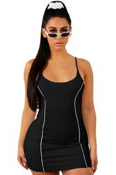Black Spaghetti Strap Mini Bodycon Dress