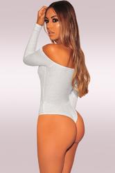 Long Sleeve Off-Shoulder Jumpsuit Bodysuit Grey