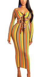 Women Sexy Colorful Strip Print Bandage Dress