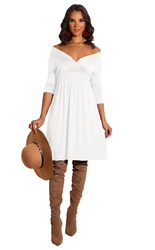 New arrivals Fashion Solid Deep V-neck Dress White