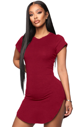 Women Bodycon Dress Wine Red Sexy Tight Irregular Hem Short Sleeve Mini T-Shirt Dress