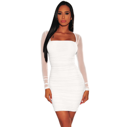 Women Solid Color Square Collar  Long Sleeve Mesh Lady's Bodycon